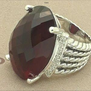 David Yurman Garnet & Diamonds Ring! S7